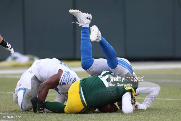 Green Bay Packers Quarterback Aaron Rodgers is sacked in the first quarter He left the game and is under concussion protocol during a game between...