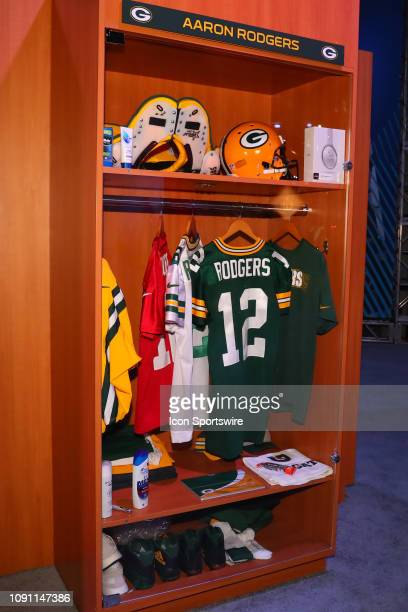 Green Bay Packers quarterback Aaron Rodgers Locker on display at the Super Bowl LIII Experience on January 29 2019 at the Georgia World Congress...