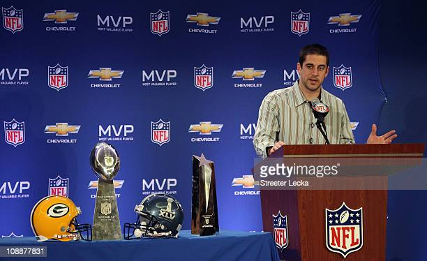 Green Bay Packers quarterback Aaron Rodgers speaks to the media during a press conference at Super Bowl XLV Media Center on February 7, 2011 in...