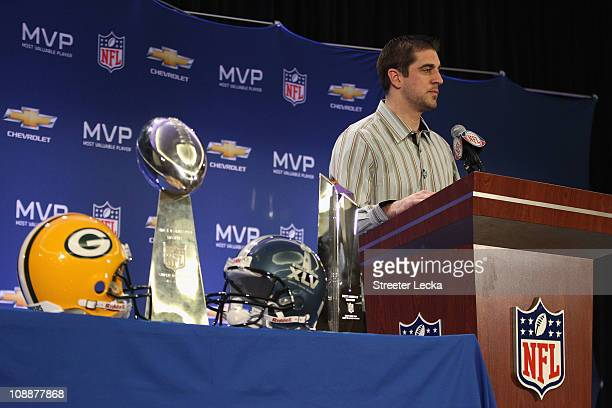 Green Bay Packers quarterback Aaron Rodgers speaks to the media during a press conference at Super Bowl XLV Media Center on February 7 2011 in Dallas...