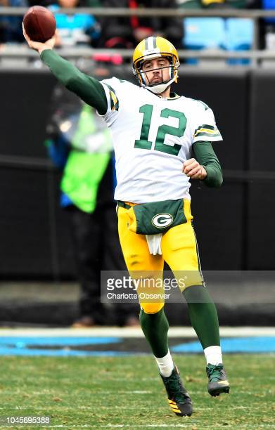 Green Bay Packers quarterback Aaron Rodgers throws downfield against the Carolina Panthers in the second half on Sunday Dec 17 2017 at Bank of...