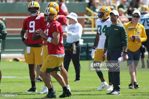 Green Bay Packers quarterback Aaron Rodgers throws during practice at Green Bay Packers Training Camp at Ray Nitschke Field on August 19, 2019 in...