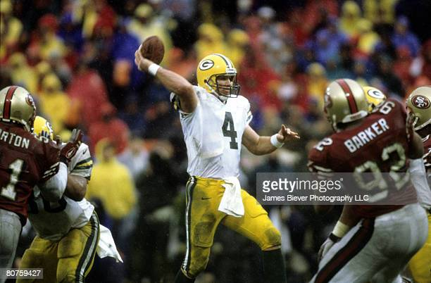 Green Bay Packers quarterback Brett Favre fires a pass during the NFC Championship Game a 2310 victory over the San Francisco 49ers on January 11 at...