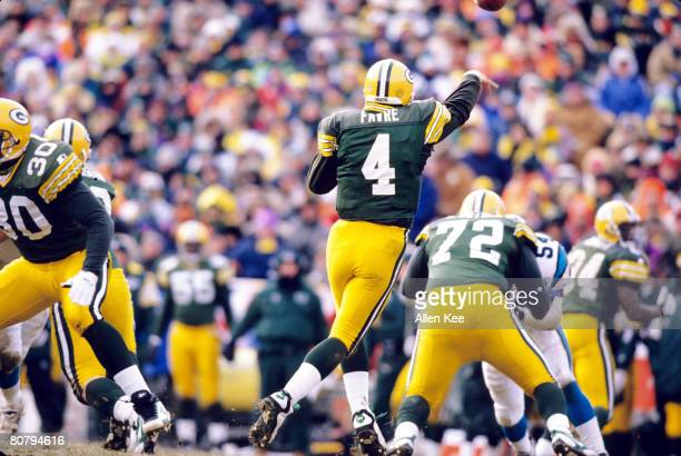 Green Bay Packers quarterback Brett Favre fires a pass during the NFC Championship Game a 3013 victory over the Carolina Panthers on January 12 at...