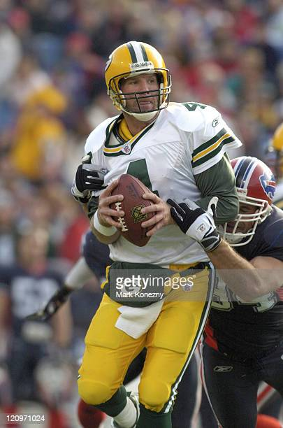 Green Bay Packers quarterback Brett Favre is sacked by Buffalo Bills defensive end Aaron Schobel at Ralph Wilson Stadium in Orchard Park New York...