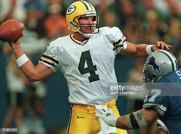 Green Bay Packers quarterback Brett Favre throws over Detroit Lions defender Stephen Boyd in the first quarter of their game 28 September at the...