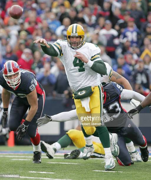 Green Bay Packers quarterback Brett Favre throws to a receiver during the game against the Buffalo Bills at Ralph Wilson Stadium in Orchard Park, New...