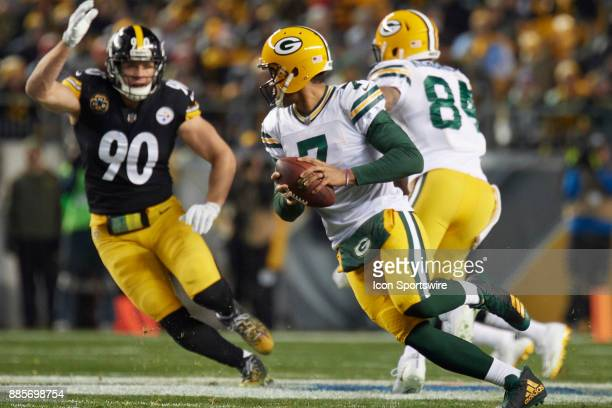 Green Bay Packers quarterback Brett Hundley in action while Pittsburgh Steelers outside linebacker TJ Watt pressures during an NFL football game...