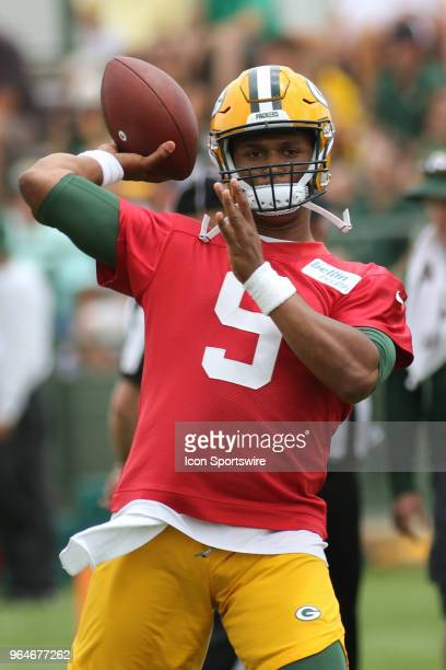Green Bay Packers quarterback DeShone Kizer throws a pass during Green Bay Packers Organized Team Activities at Ray Nitschke Field on May 31 2018 in...