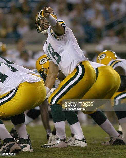 Green Bay Packers quarterback Doug Pederson calls a play during an August 27 2004 NFL preseason game against the Jacksonville Jaguars in Jacksonville...