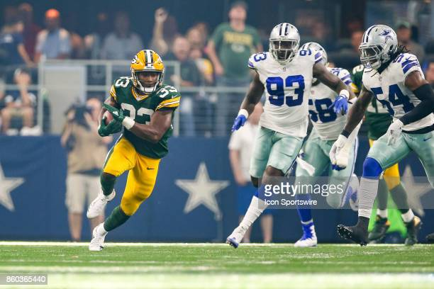 Green Bay Packers running back Aaron Jones breaks into the secondary during the football game between the Green Bay Packers and Dallas Cowboys on...