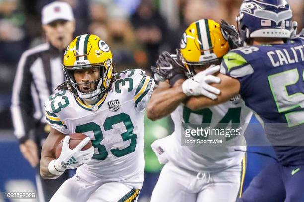 Green Bay Packers Running Back Aaron Jones during the week 11 Thursday night NFL football game between the Seattle Seahawks and the Green Bay Packers...