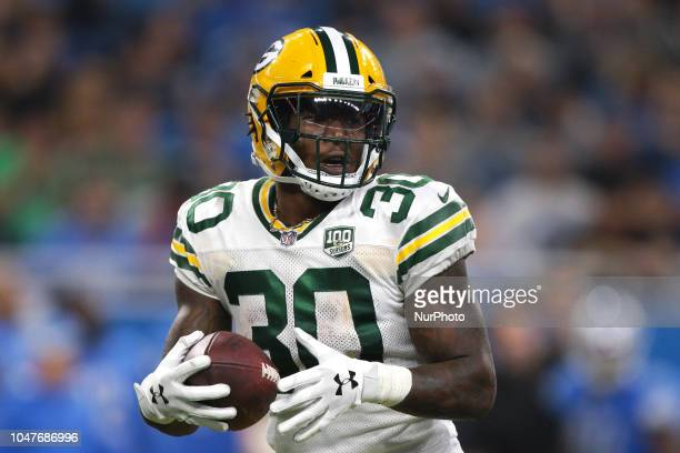 Green Bay Packers running back Jamaal Williams is seen during the second half of an NFL football game against the Detroit Lions in Detroit Michigan...