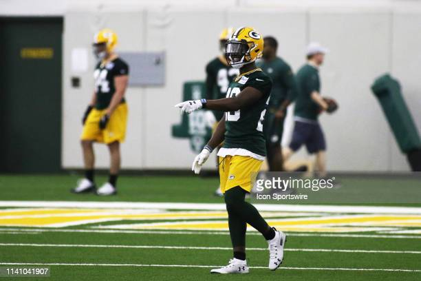 Green Bay Packers safety Darnell Savage points out coverage spots during Green Bay Packers Rookie Camp in the Don Hutson Center on May 3 2019 in...