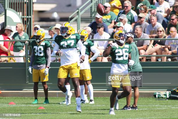 Green Bay Packers safety Darnell Savage tosses a ball during practice at Green Bay Packers Training Camp at Ray Nitschke Field on August 19 2019 in...