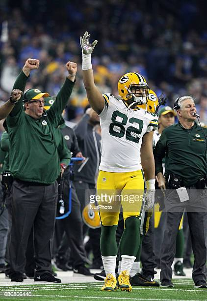 Green Bay Packers tight end Richard Rodgers celebrates a pass intercepted by strong safety Micah Hyde during the fourth quarter of an NFL football...