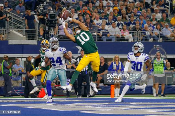 Green Bay Packers wide receiver Darrius Shepherd leaps but cannot come down with the catch during the game between the Green Bay Packers and Dallas...