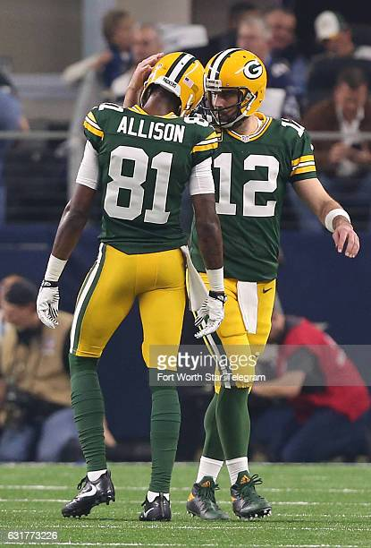Green Bay Packers wide receiver Geronimo Allison and quarterback Aaron Rodgers celebrate in the second quarter against the Dallas Cowboys in the NFL...