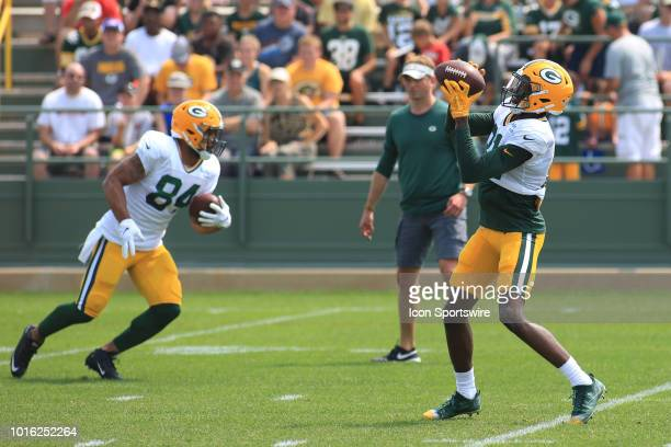 Green Bay Packers wide receiver Geronimo Allison makes a catch during Green Bay Packers training camp at Ray Nitschke Field on August 13 2018 in...