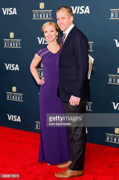 Green Bay Packers wide receiver Jordy Nelson and his wife pause for photos during the NFL Honors Red Carpet on February 4 2017 at the Worthan Theater...
