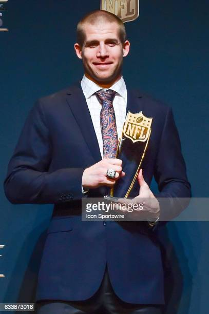 Green Bay Packers wide receiver Jordy Nelson holds the trophy for Comeback Player of the Year presented during the NFL Honors Red Carpet on February...