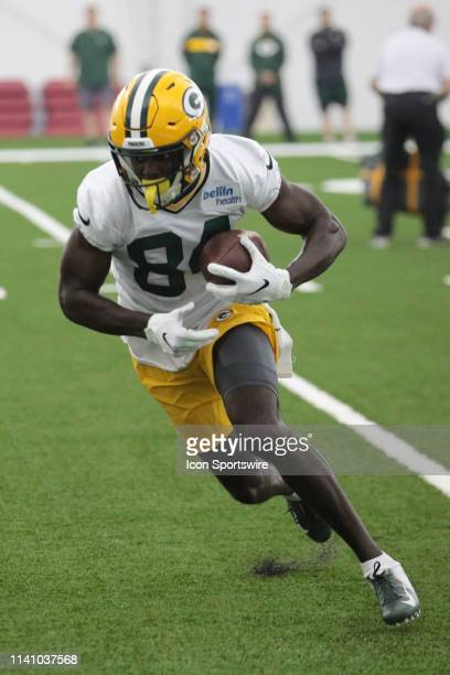Green Bay Packers wide receiver Matthew Eaton makes a catch during Green Bay Packers Rookie Camp in the Don Hutson Center on May 3 2019 in Green Bay...