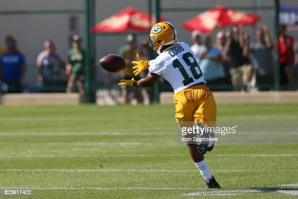 Green Bay Packers wide receiver Randall Cobb makes a catch during Green Bay Packers Training Camp on July 27 2017 at Ray Nitschke Field in Green Bay...
