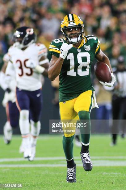 Green Bay Packers wide receiver Randall Cobb runs after a catch during a game between the Green Bay Packers and the Chicago Bears at Lambeau Field on...