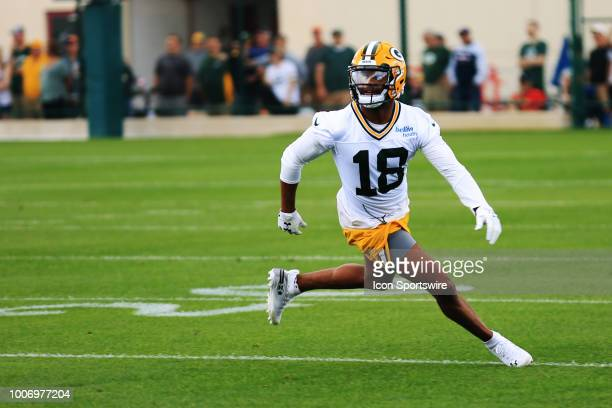 Green Bay Packers wide receiver Randall Cobb waits for the ball during Green Bay Packers training camp at Ray Nitschke Field on July 27 2018 in...