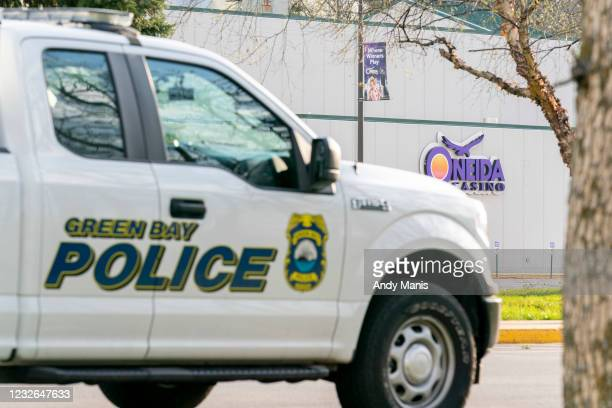 Green Bay Police truck is parked next to the casino on May 2, 2021 in Green Bay, Wisconsin. A gunman killed two people and seriously wounded a third...