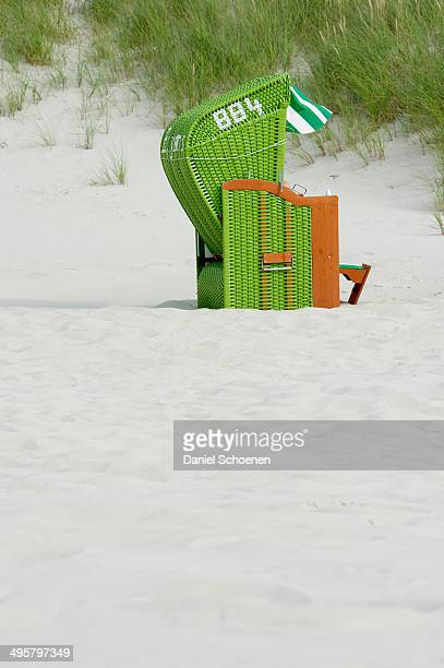 Green beach chair, Nebel, Amrum, North Frisian Islands, Schleswig-Holstein, Germany