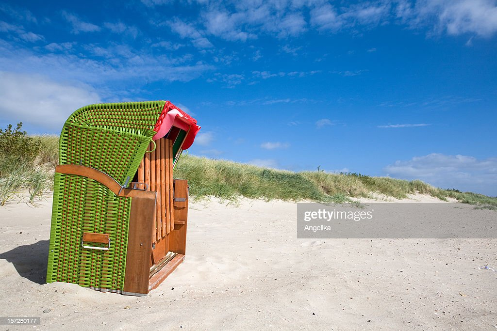 Green beach chair : Stock Photo