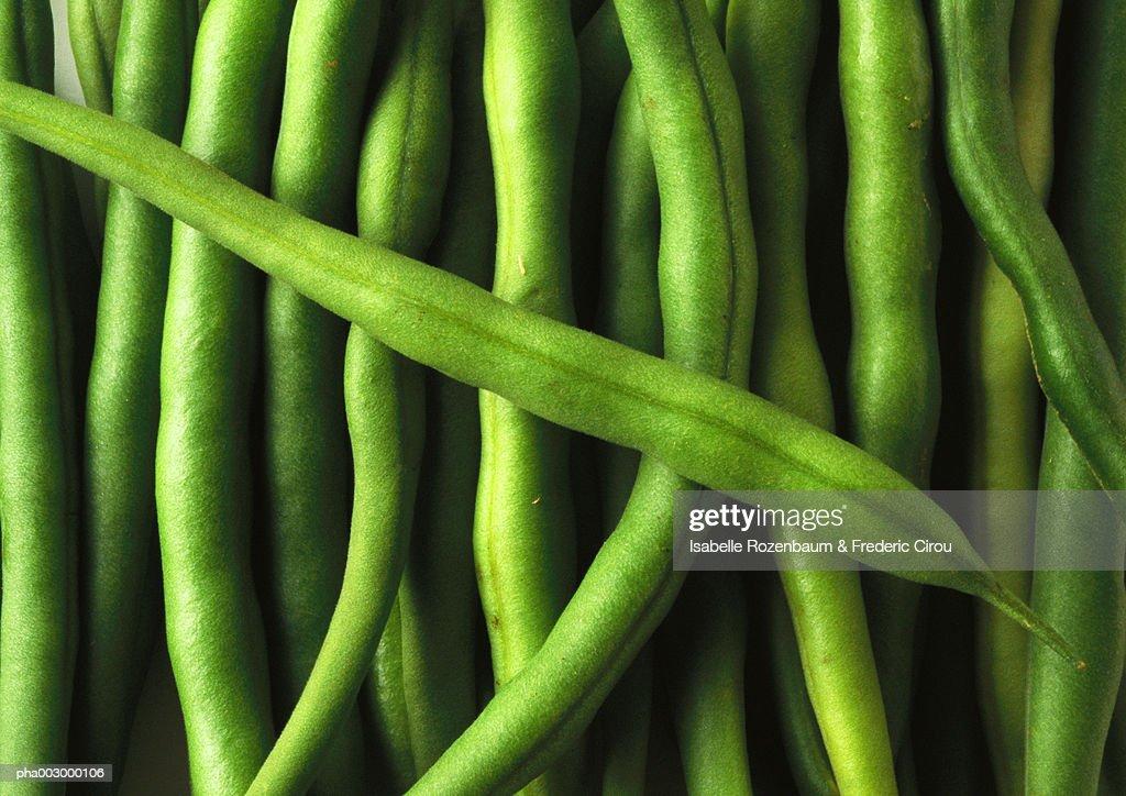 Green beans, close-up, full frame : Stockfoto