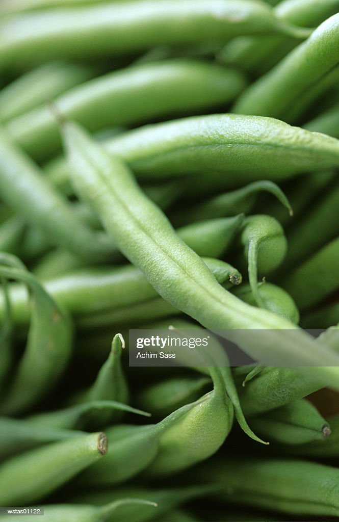 Green beans, close-up : Foto de stock