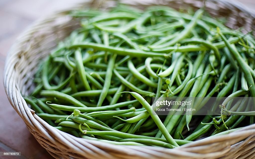 Green Beans In Basket On Table : Stock Photo