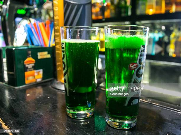 Green beer in the Molly Malone's Irish Pub seen during Saint Patricks Day celebration on March 17 2017 in Warsaw Poland Saint Patricks Day is a...