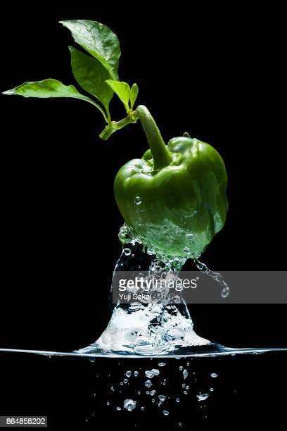green bell pepper jump out from water. - green bell pepper stock pictures, royalty-free photos & images