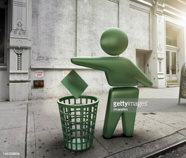 Green bin symbol in the street