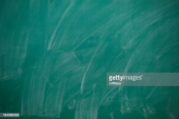 Green blackboard with chalk marks and no writing