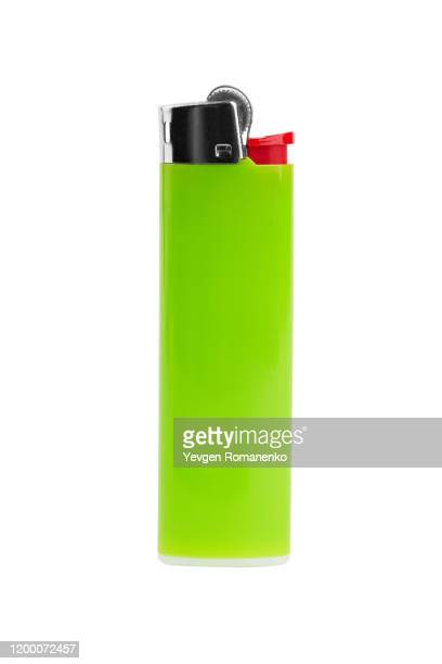 green blank gas lighter isolated on white background - cigarette lighter stock pictures, royalty-free photos & images