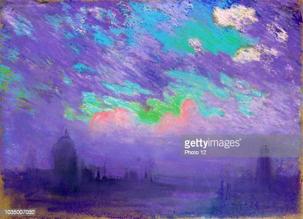 Green blue and purple by American artist Joseph Pennell 18571926 View of London in dark blue and purple light under a sky richly lighted with the...