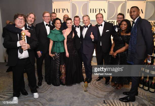Green Book cast and crew pose with award at Moet Chandon at The 76th Annual Golden Globe Awards at The Beverly Hilton Hotel on January 6 2019 in...