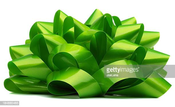 green bow on white - tied bow stock pictures, royalty-free photos & images