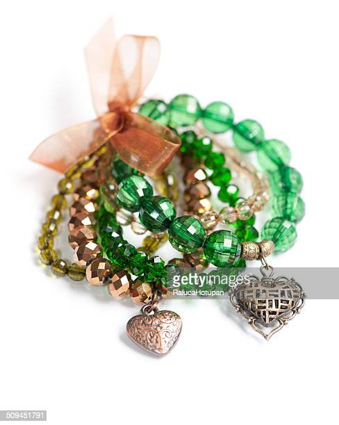 Green bracelet set with heart charms