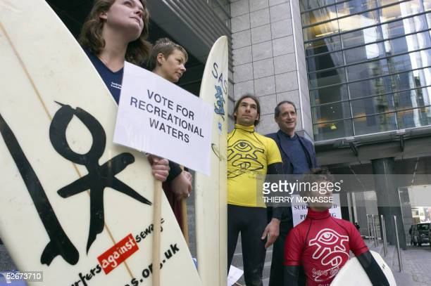green British Euro Parliament members Caroline Lucas and French Gerard Onesta join activists of the surfrider foundation Europe for a protest asking...