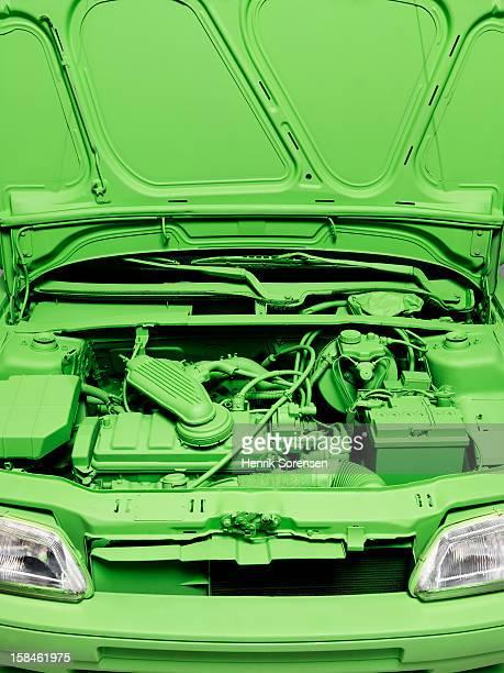 Green car, environment. (The hood of the car)