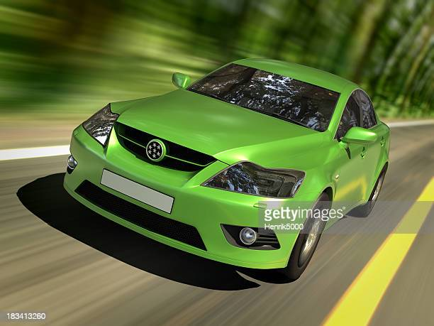 green car in forest - alternative fuel vehicle stock pictures, royalty-free photos & images