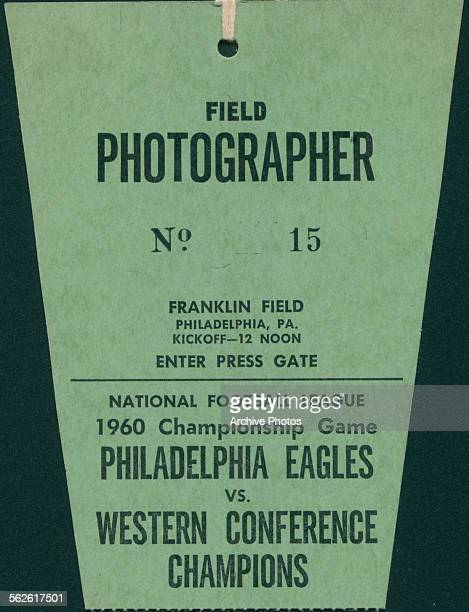 Green cardboard tag for a field photographer attending the Philadelphia Eagles vs Western Conference Champions football game at Franklin Field...