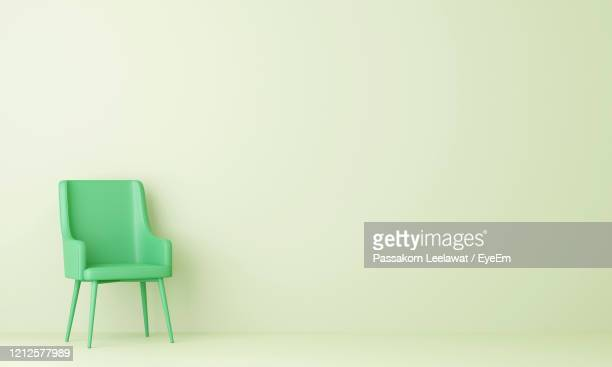 green chair in pastel green living room. minimal style concept. pastel color style. 3d render. - chair stock pictures, royalty-free photos & images