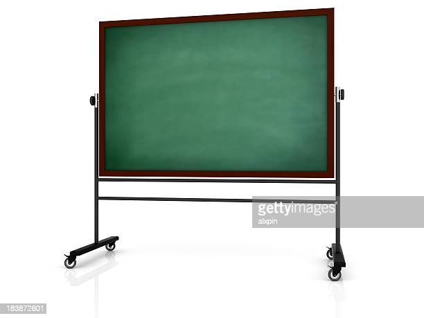 green chalkboard on white background - chalkboard stock photos and pictures